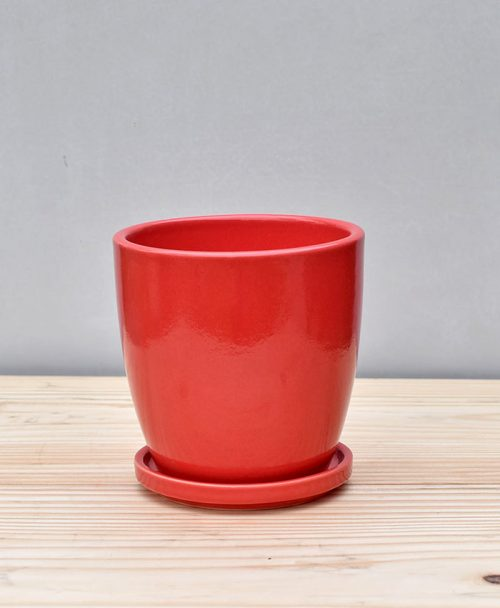 Ceramic 4 inch Oval Pot Red 1