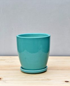 Ceramic 4 inch Oval Pot Sea Green 1