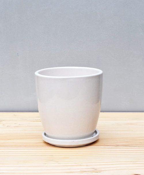 Ceramic 4 inch Oval Pot White 1