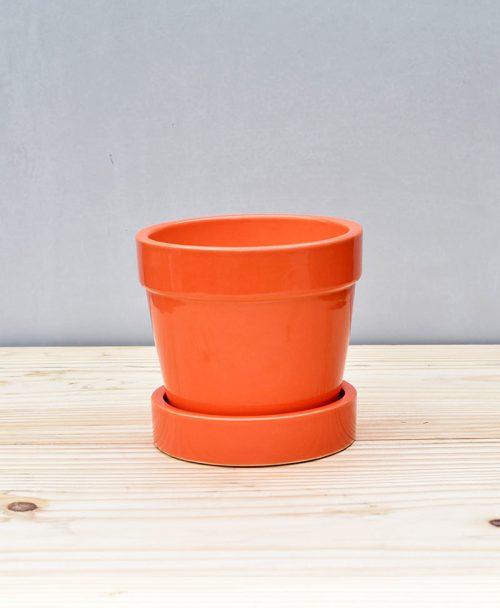 Ceramic Band Pot 4 inch Orange
