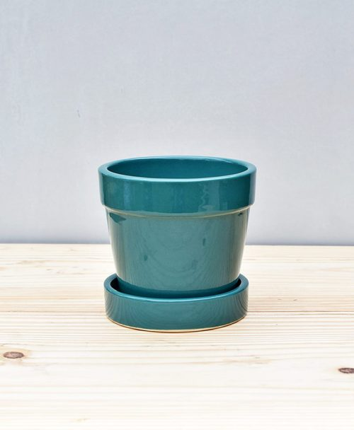 Ceramic Band Pot 4 inch Peacock Blue