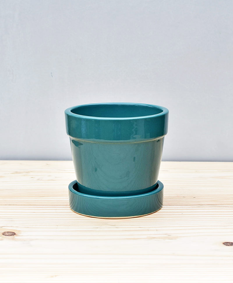 Ceramic 4 inch Band Pot Peacock Blue