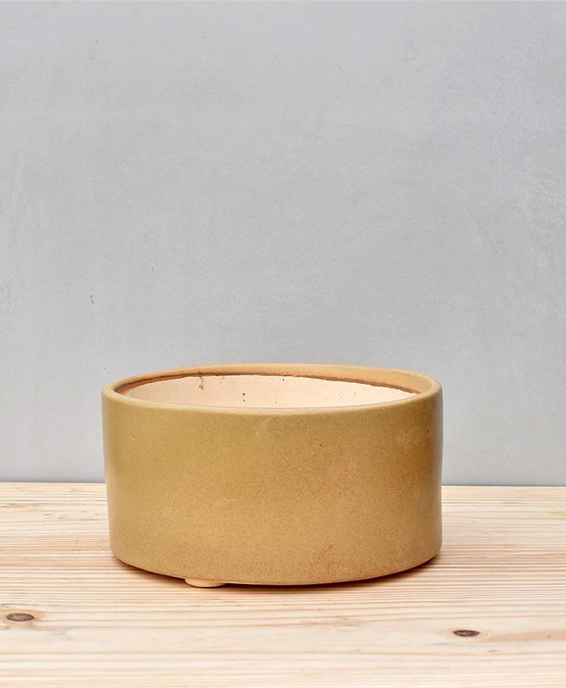 Ceramic Bonsai Tray Round 7 inch Beige