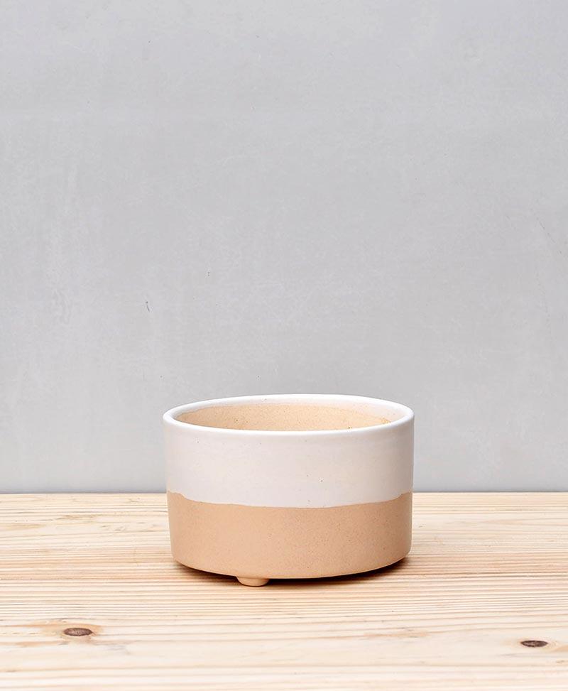 Ceramic Bonsai Tray Round 5 inch Beige