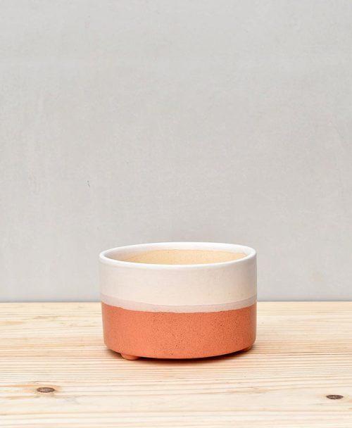 Ceramic Bonsai Tray Round 7 inch Coral 2