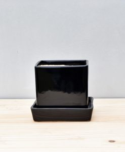 Ceramic Cube 4 inch with Plate Black 1