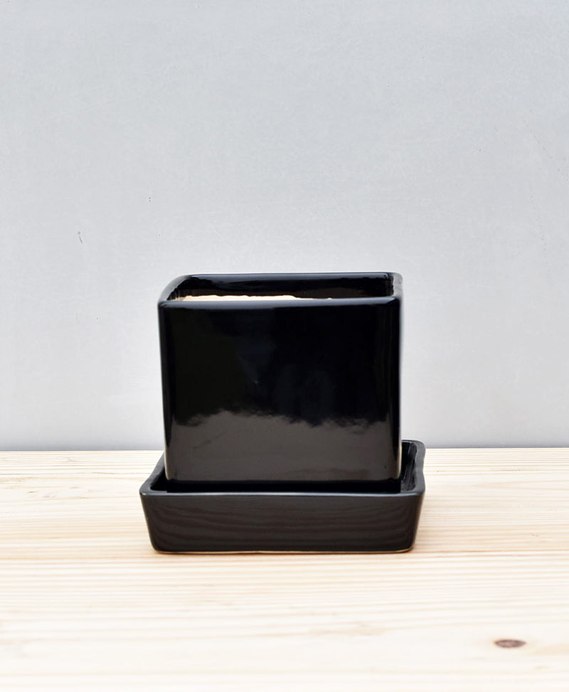 Ceramic Cube 4 inch with Plate Black