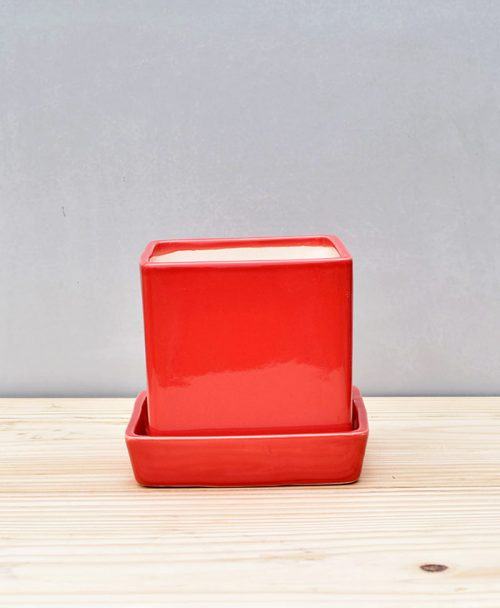 Ceramic Cube 4 inch with Plate Red 1