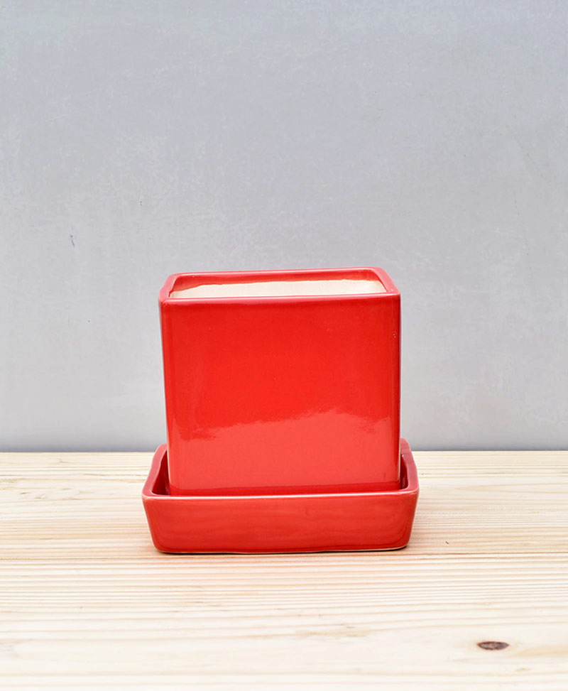 Ceramic Cube 4 inch with Plate Red