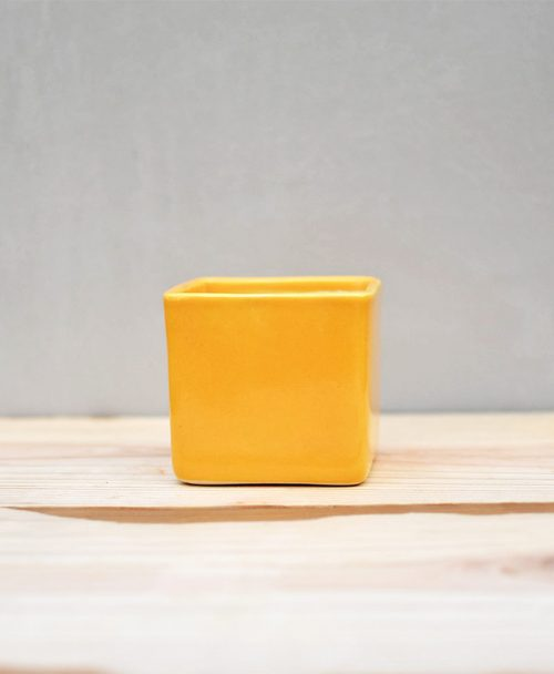 Ceramic Cube Pot 3 inch Mustard Yellow -1