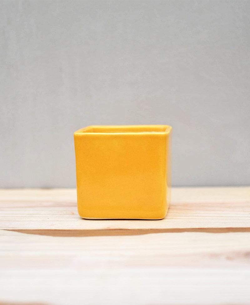 Ceramic Cube Pot Mustard Yellow 3 inch