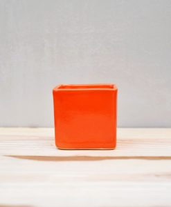 Ceramic Cube Pot 3 inch Orange 1