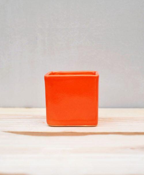 Ceramic Cube Pot 3 inch Orange 1