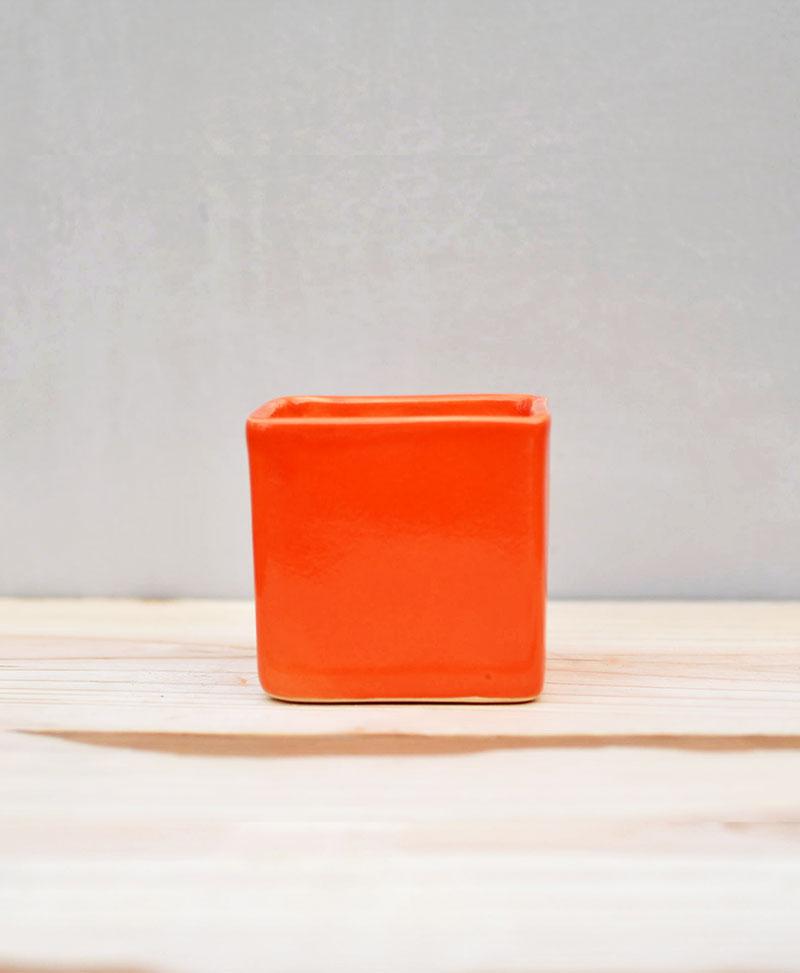 Ceramic Cube Pot Orange 3 inch