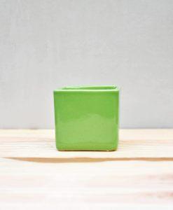 Ceramic Cube Pot 3 inch Parrot Green 1