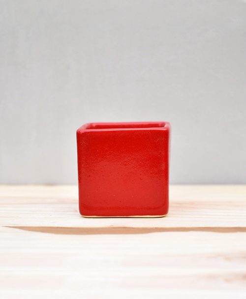 Ceramic Cube Pot 3 inch Red 1