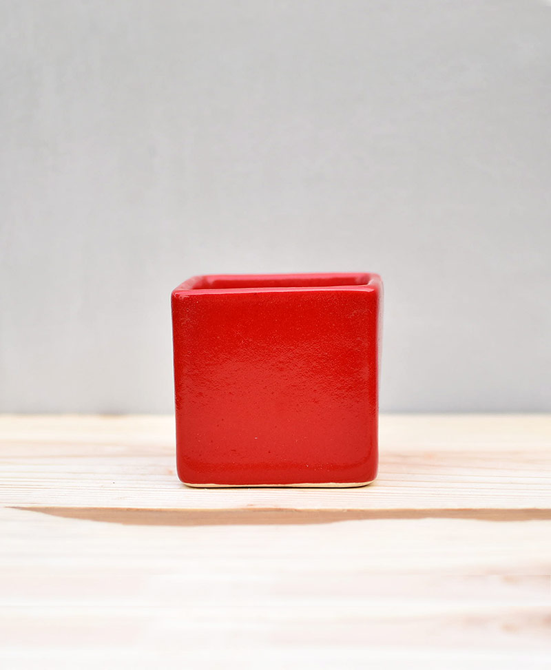 Ceramic Cube Pot Red 3 inch