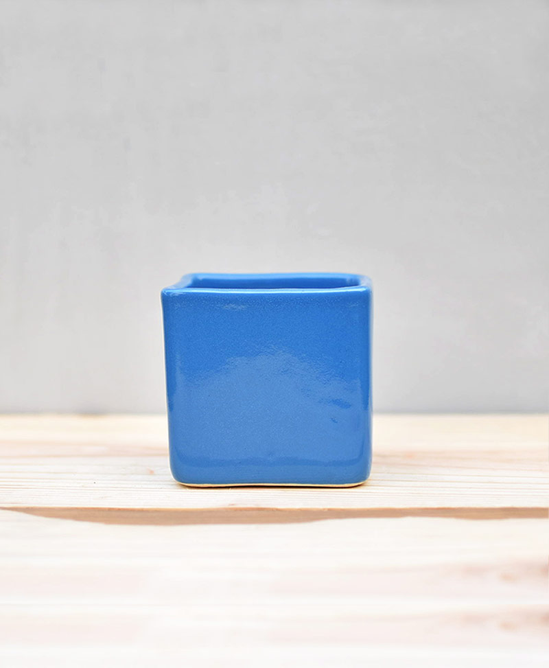 Ceramic Cube Pot Sky Blue 3 inch