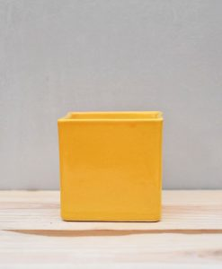 Ceramic Cube Pot 4 inch Mustard Yellow 1