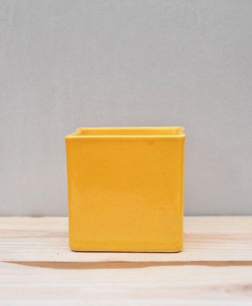 Ceramic Cube Pot 4 inch Mustard Yellow 1