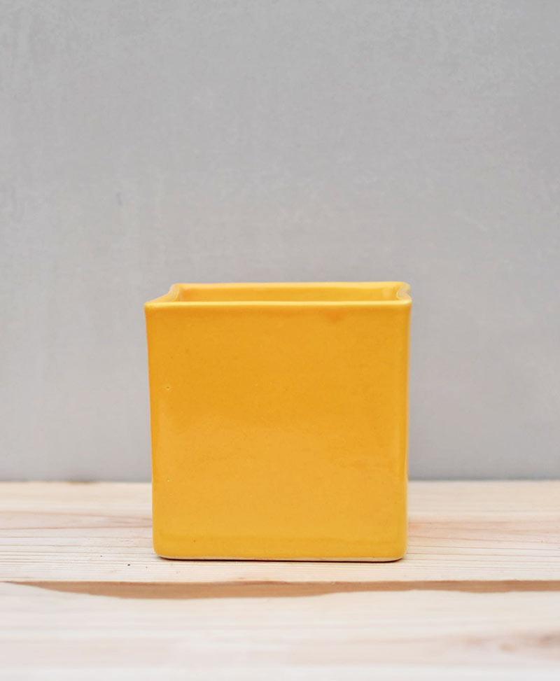 Ceramic Cube Pot 4 inch Mustard Yellow