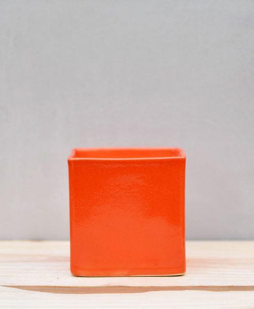 Ceramic Cube Pot 4 inch Orange 1