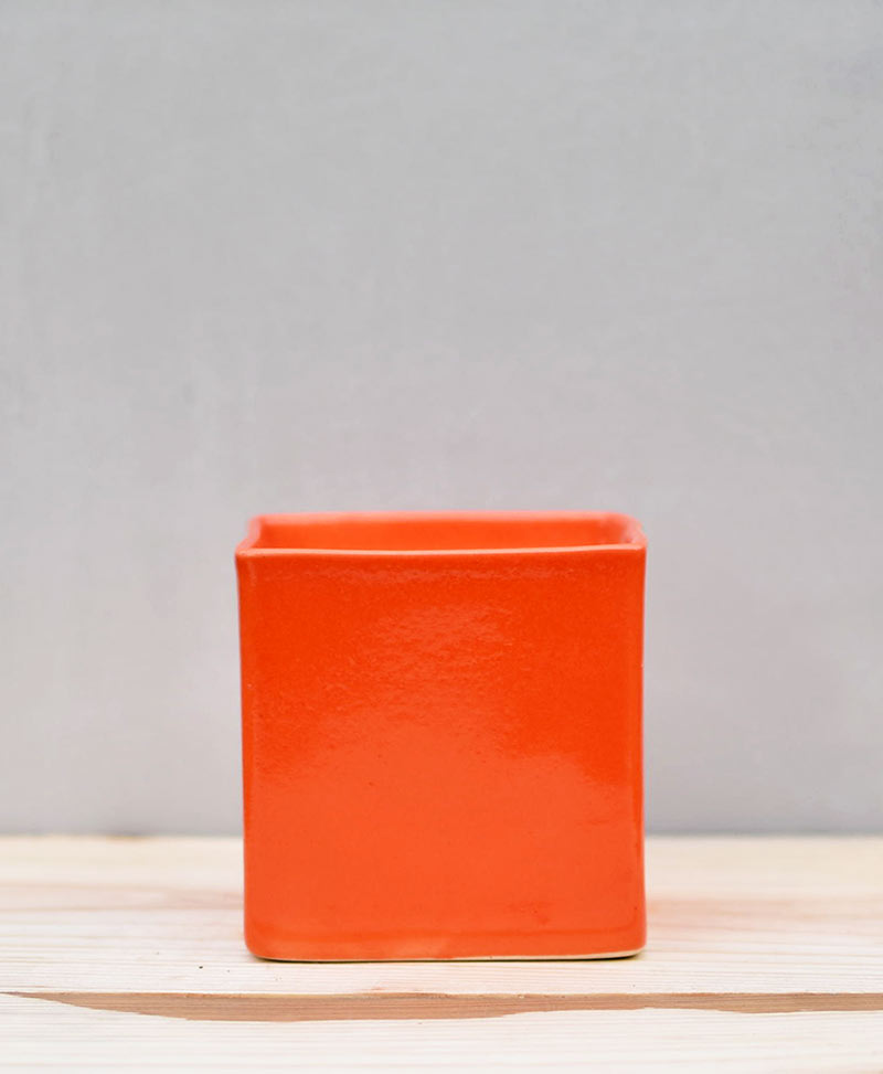 Ceramic Cube Pot 4 inch Orange