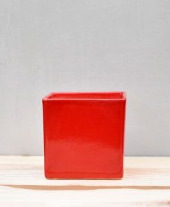 Ceramic Cube Pot 4 inch Red 1