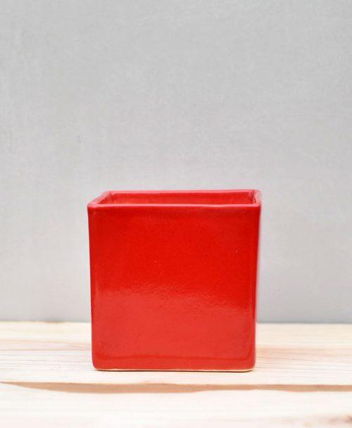 Ceramic Cube Pot 4 inch Red 1