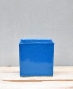 Ceramic Cube Pot 4 inch Sky Blue 1