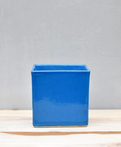 Ceramic Cube Pot 4 inch Sky Blue 1