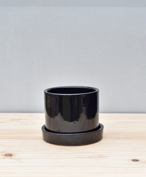 Ceramic 4 inch Cylinder Pot with Plate Black 1