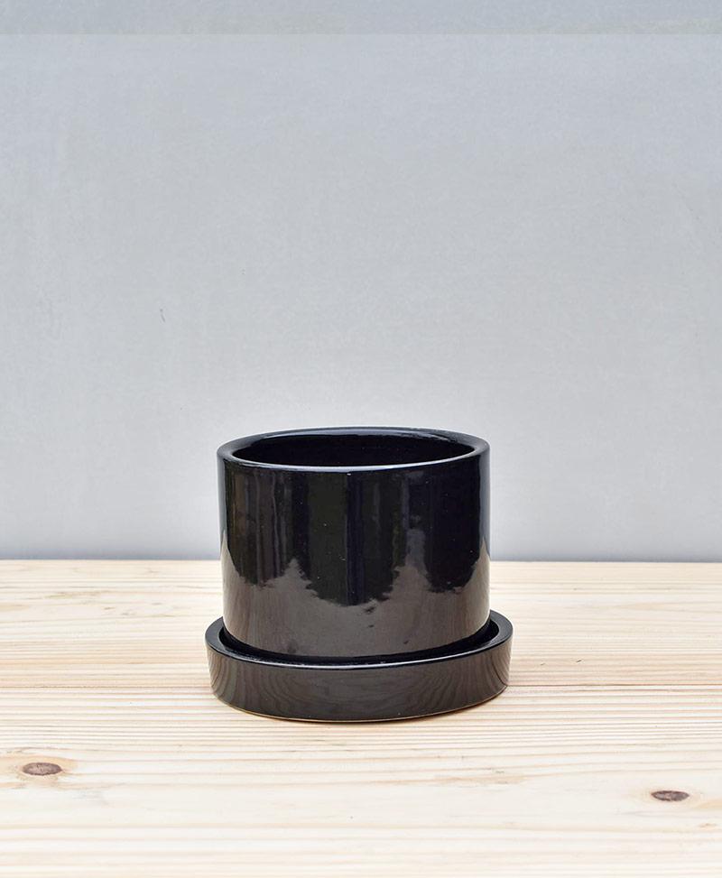 Ceramic 4 inch Cylinder Pot Black