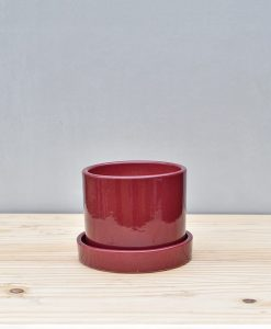 Ceramic 4 inch Cylinder Pot with Plate Maroon 1