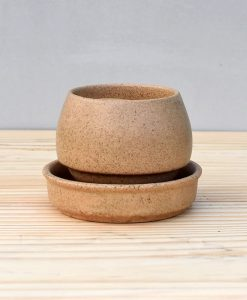 Ceramic Egg Pot 2.5 inch Brown 2