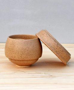 Ceramic Egg Pot 2.5 inch Brown 3
