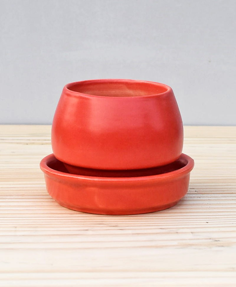 Ceramic Egg Pot 2.5 inch Pastel Red