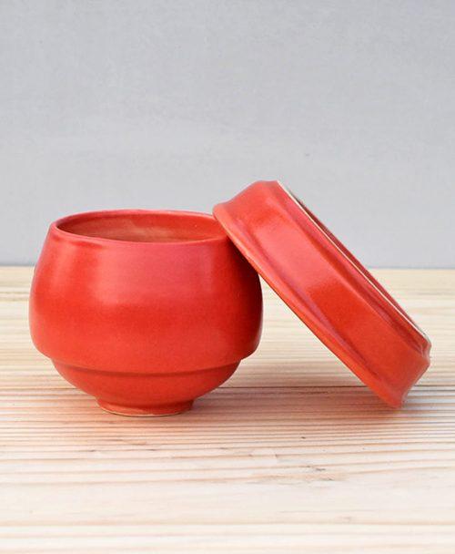 Ceramic Egg Pot 2.5 inch Pastel Red 3