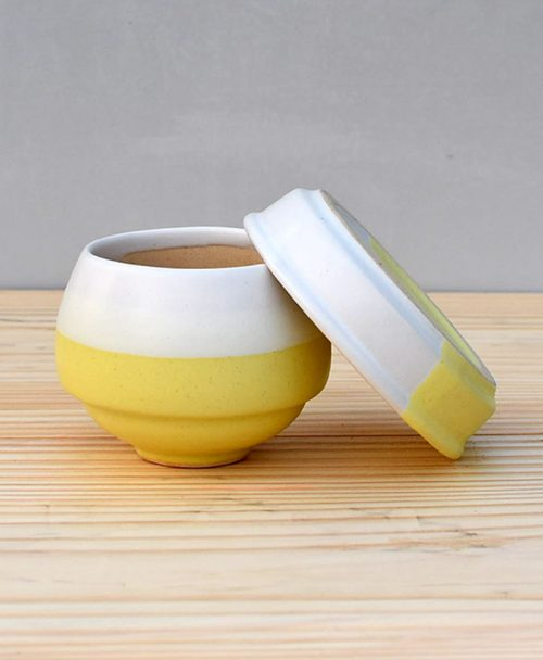 Ceramic Egg Pot 2.5 inch Pastel Yellow 3
