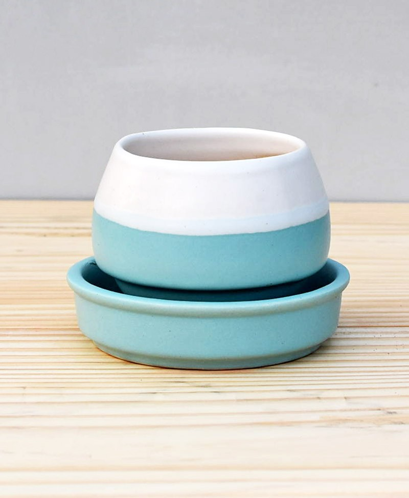 Ceramic Egg Pot 2.5 inch Sky Blue