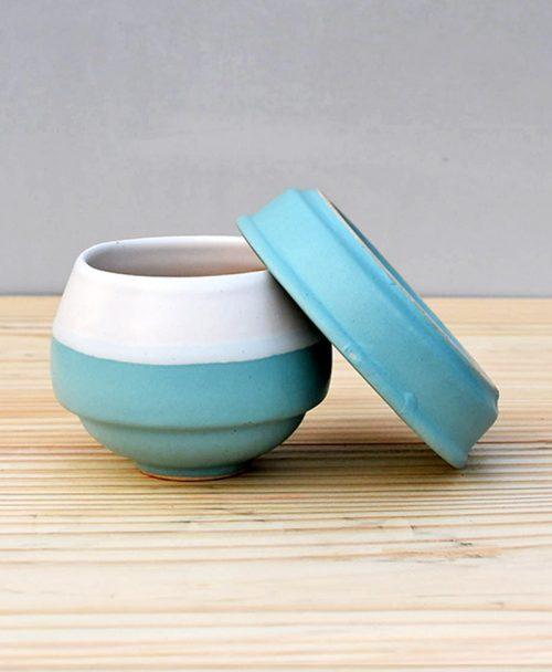 Ceramic Egg Pot 2.5 inch Sky Blue 3