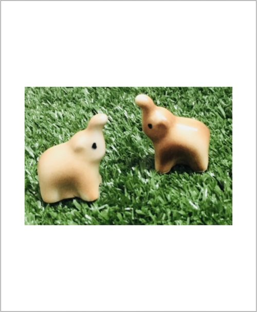 Garden Miniature Elephants (Set of 2 Ceramic Elephants)