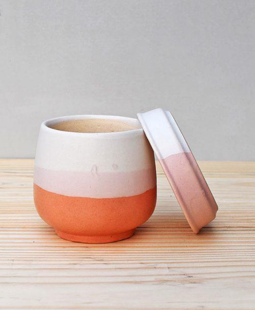 Ceramic Jar Pot 3 inch Coral 3