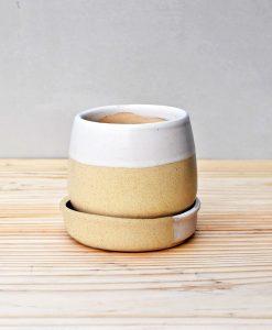 Ceramic Jar Pot 3 inch Pastel Beige 2