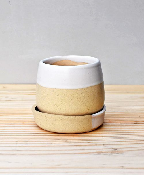 Ceramic Jar Pot 3 inch Pastel Beige 2
