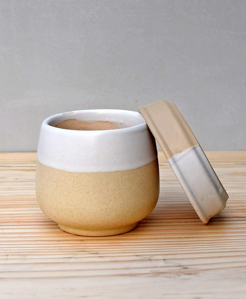 Ceramic Jar Pot 3 inch Pastel Beige 3