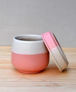 Ceramic Jar Pot 3 inch Pastel Pink 3