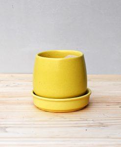 Ceramic Jar Pot 3 inch Pastel Yellow 2