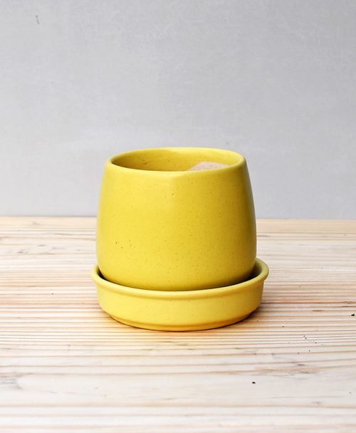 Ceramic Jar Pot 3 inch Pastel Yellow 2