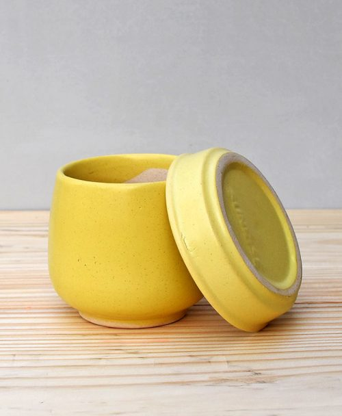 Ceramic Jar Pot 3 inch Pastel Yellow 3